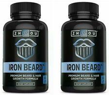 Iron Beard & Hair Growth Supplement Vitamin Men Zhou Nutrition 2 PACK FULLER