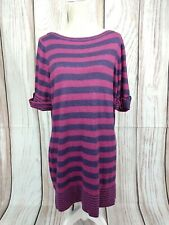 Marks & Spencer Purple Stripe Jumper Dress Fine Knit Size 18