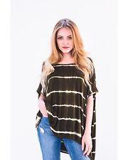 Lady stripe tie dye print cotton T-shirt top black green color