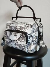 Thomas Wydle Structured Butterfly Skull Print Handbag Leather Gunmetal
