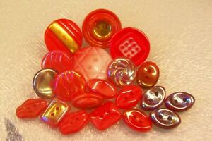 20 vintage (unused) mixed red & crimson glass buttons/iridescent/gold lustred