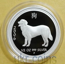 2006 Australia 1/2Oz Year of the Dog Silver Proof Coin Lunar I Series Perth Mint