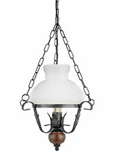 Rustic Oil Lantern Ceiling Light Pendant Rustic Metal & Wood Country Style
