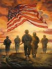 Art Print, Framed or Plaque by Bonnie Mohr - Bless America's Heroes - COW214