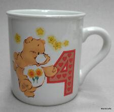 Mug Childs Friend Care Bear 1985 Age 4 Kids Birthday Peach Teddy 6oz Vintage