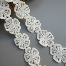 craft Embroidery lace trim 5 white sewing wedding decor daisy applique flower