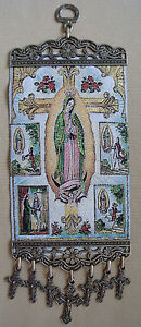 Our Lady Guadalupe Textile Wall Hanging With Crosses Crucifix