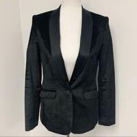 Kobi Halperin black velvet tuxedo blazer jacket Sz 8