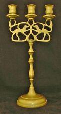 Antique Solid Brass Shabbat Three-Candle Candelabra with Dog Design - Superb!!