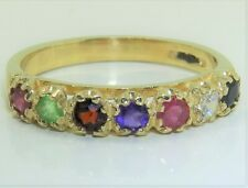 9CT REGARDS ETERNITY RING DIAMOND EMERALD RUBY  9 CARAT YELLOW GOLD