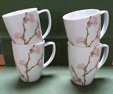 """Set of 4 Corning Corelle Cherry Blossom Pattern Mugs 4 1/4"""", 12 oz. MINT!"""