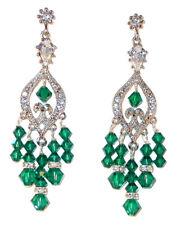 EMERALD Green Crystal Chandelier Earrings Swarovski Elements Silver Formal