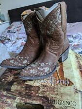 Authentic Old Gringo Hamdmade leather Embroidered Women's Cowboy Boots UK 7/US 9