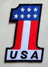 No.1 USA Flag Biker Motorcycles Racing Embroidered Iron on Patch Free Shipping