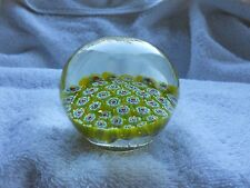 Vintage Murano Millefiori Dome Shape Paperweight Yellow Flowers Canes