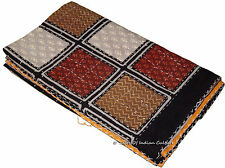 Indian Kantha Bedspread Quilt Handmade Throw Blanket Coverlet Wall Hanging Decor