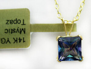 MYSTIC TOPAZ  2.88 Cts SOLITAIRE PENDANT 14K GOLD *** New With Tag ***