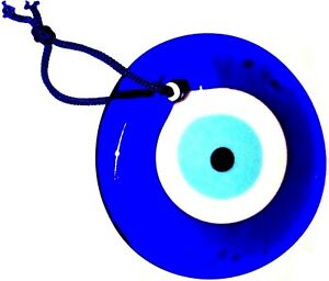 GREEK / TURKISH EVIL EYE Lucky Charm Amulet Teardrop Blue Glass Wall Hanging 9cm