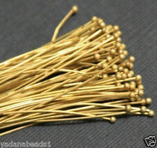 100 pcs of Raw Brass Ball end headpin - 2in - 24g
