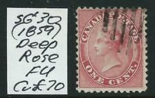 CANADA - 1859 1 c 'DEEP ROSE'  FU  SG30  Cv £70  [9361]