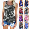UK Womens Camo Vest Cami Cold Shoulder Casual Ladies Blouse Loose Tee Basic Tops