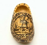 One Vintage Hand Carved Painted Dutch Wooden Shoe Clogs Holland Windmill Wood