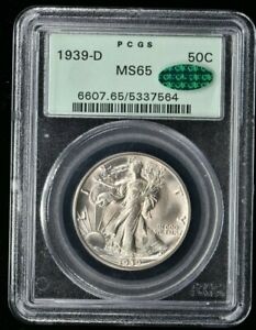 "1939-D Walking Liberty Half Dollar 50C PCGS MS65 CAC ""OGH"" (7564) 99c NO RESERVE"