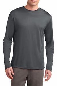 Mens Long Sleeve T-Shirt Base Layer Moisture Wicking Workout Dri-Fit XS-4XL NEW