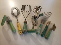 Lot of Vintage Farmhouse  Wood & Metal Green Kitchen Utensils