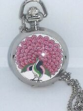 "Watch Silver Necklace Locket Mini Pocket  Watch Style Mirror Peacock  30"" Chain"