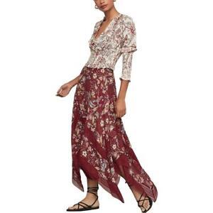 BCBGMAXAZRIA Womens Handkerchief Floral Print Midi Asymmetrical Skirt BHFO 7050