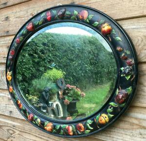 Vintage Art Deco Gesso Ebonised Applied Colour Fruit Oval Hallway Mirror 1924