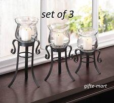 3 size S M L SET trio Black iron scroll Artisanal hurricane candle holder cheap