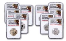 2018-S U.S. Silver Reverse Proof Set 10pc NGC PF70 First Day Issue Trolley Label