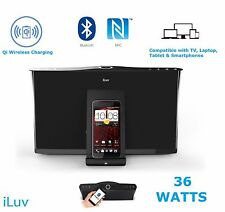 iLuv 36W Bluetooth NFC Speaker Dock + Wireless Qi Charger Pad Latest Smartphones