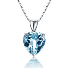 Luxury Aquamarine Heart Silver Women Gemstone Jewelry Necklace Pendant ND618