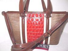 Brahmin Mini Asher Vineyard Brown Orange Ivory Tote Handbag NWT $275