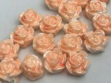 35 x Small Rose Beads, White-Apricot Blush, 6mm Resin Beads, UK Seller