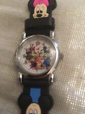 Reloj Pulsera niños Niñas Niños Negro Correa de Silicona de MICKEY Mouse Acero atrás encomendada