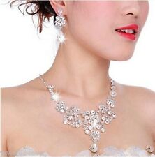Wedding Jewellery Bridal Necklace Earring Rhinestone Silver Plated set