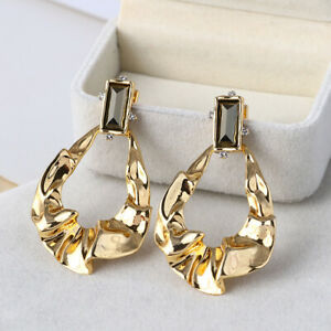 Alexis Bittar Gold Crumpled Brown Gem Drop Earrings