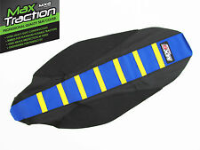 KTM 85 SX85 85SX RIBBED GRIPPER SEAT COVER BLACK + BLUE + YELLOW STRIPES
