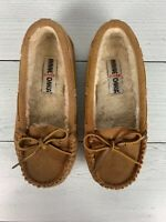 Minnetonka Women's 5 Brown Tan Leather Suede Soft Cally Shoes Moccasins Slippers