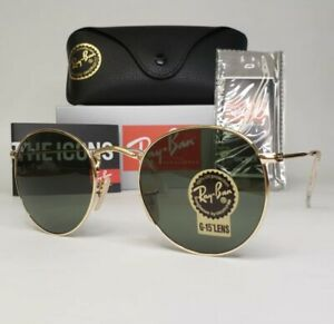 Ray-Ban Gold Round Metal Frame Sunglasses. RB 3447 001.