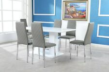 OXFORD White High Gloss Dining Table Set And 6 Chrome Leather Dining Chairs