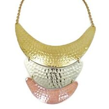 Brass Necklace Three Tone Statement Necklace Bib Hammered Choker BRS-NK6924TT