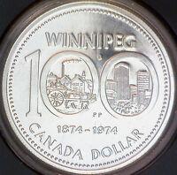 1974 (1874) Canadian $1 Winnipeg Centennial Specimen Silver Dollar Coin