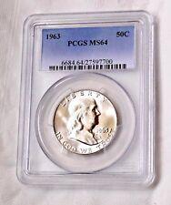 1963 PCGS MS64 FRANKLIN HALF DOLLAR 50C COLLECTIBLE US COINS GIFT IDEA O