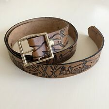 Vintage Stained Tooled Brown Leather Hunting Belt Deer 38