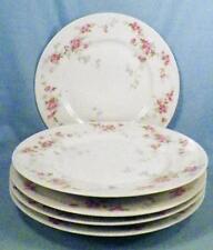 5 Limoges Dessert Plates Pink Cabbage Roses D & C L Bernardaud Porcelain Vintage